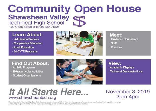 Shawsheen will host it's Community Open House on Sunday, November 3, 2019, from 2:00 - 4:00 pm.