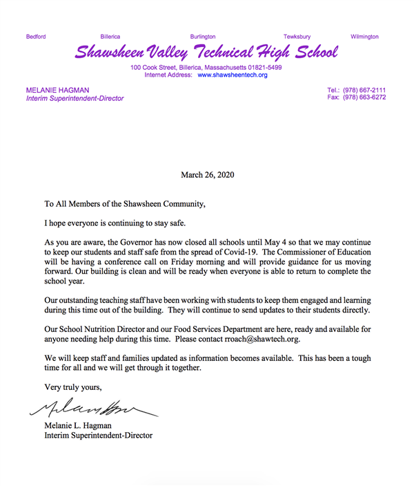 Click here to see an update from our Interim Superintendent-Director that was sent out to families